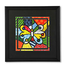 "ROMERO BRITTO LARGE ""BUTTERFLY""  FRAMED PRINT  SEALED"