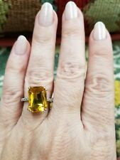 925 Silver Canary Yellow Ring Size 6, 7