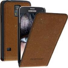 Blumax Flip Thin FUNDA PIEL para Samsung Galaxy S5 Mini Marrón Estuche móvil