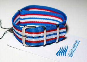 NATO Uhrarmband Textil Nylon 18 20 mm Durchzugsband Farbe: Blau/RotWeiß Molberg