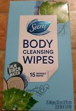 Secret Body Cleansing Wipes Calm Birch Water Scent 15 Individually wrapped Wipes