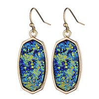 Unique Delicate Druzy Stone Oval Pendant Drop Earrings Chic Statement Jewelry