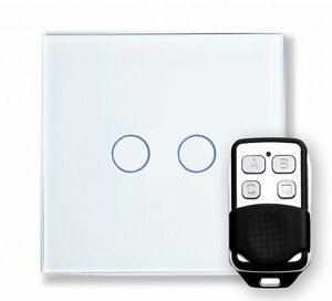 RetroTouch 00361 2 Gang White Glass Remote Control Touch Light Switch with Fob