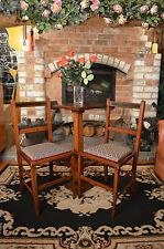 Pair Elegant Elm Inlaid Edwardian Dining Bedroom Hall Chairs Blue & Pink Trim