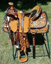 "NWT Circle Y of Yoakum 15"" Tooled Western Steer Roping Custom Show Saddle"