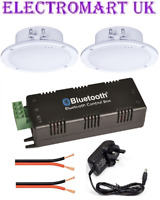 "WIRELESS BLUETOOTH STEREO AMP AMPLIFIER 2 X 4"" CEILING SPEAKER SPEAKERS KIT 30W"