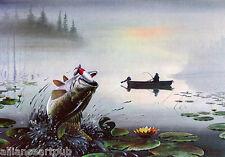 """BASS AT DAYBREAK"" + ""TROLLING TO THE BAR"" (2) Fishing Prints S/N By Les Kouba"