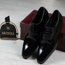 NWB $2600 ARTIOLI Patent Leather  Shoes Black 6UK/7US/40EU made in Italy G Width