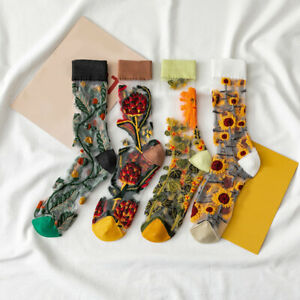 Women Girls Mid Tube Glass Yarn Socks Ultrathin Boho Flower Casual Crew Socks