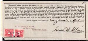 **USA = 5c Documentary Revenue on G. E. C. Stockholder document. 1925. (O0700c)