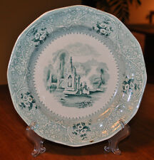 Lovely Antique Green Transferware Ironstone Staffordshire Plate Adams Columbia
