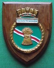 Old HMS Saskatchewan Royal Navy Ship Crest Shield Plaque