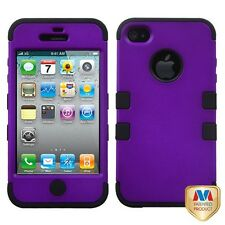iPhone 4 4G 4S - Hard & Soft Rubber Hybrid Armor Impact Case + Screen Protector