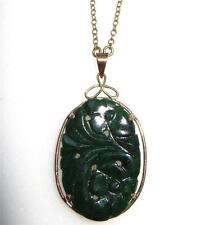 c1935 14k Gold Framed Nephrite Jade Pendant Necklace Carved Blossoms