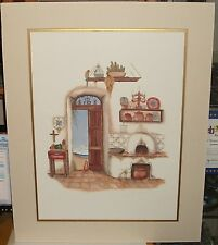 CAROL JEAN CAT AND BIRD IN THE KITCHEN HAND SIGNED IN PENCIL LARGE LITHOGRAPH