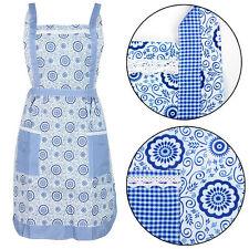 Azul Floral Musgo Forrado Bolsillo Vintage Elegante Delantal de Cocina Cocinar Chef Workwear