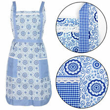 Blue Floral Pinny Lined Vintage Pocket Fancy Kitchen Cooking Apron Chef Workwear