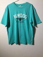 Elwood Mens Turquoise Blue Graphic T Shirt Size XL Short Sleeve
