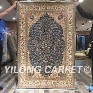 Yilong 4'x6' Oriental Handmade Carpets Top Blue Hand Knotted Silk Area Rug ZZ049