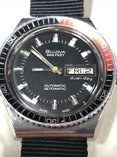 VINTAGE BULOVA AUTOMATIC SET-O-MATIC MENS DIVER WRIST WATCH 666FT 37MM DUAL DAY