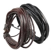 Leather Wrap Bracelet Bangle Braided Rope Multi Layer Jewellery For Men & Women