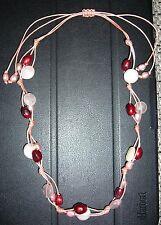 Lola Rose Kette mit Rosenquarz und roten+weißen Perlen