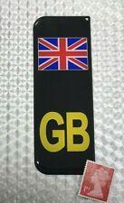 1 x UNION JACK GB Number Plate Sticker on Black Super Shiny Domed Resin Finish