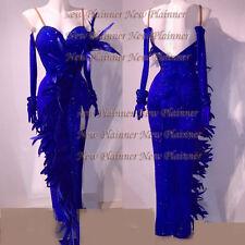 L3997 feather women ballroom Rhythm salsa samba swing dance dress us 8