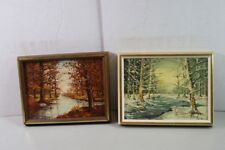 2 Robert Bolster Original Art Paintings Matching Pair Fall & Winter 13x12 small