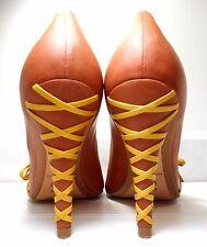 Corso Como Brown Corset Laced Heel Pump Peep Toe Leather Women US 8 Minimal Wear
