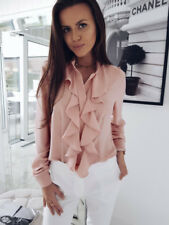 Womens Summer Long Sleeve Blouse Ruffle Front Shirt Ladies Office Chiffon Tops