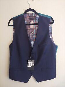 NWT TED BAKER London Debonair Dark Navy Blue Wool Blend Waistcoat Vest Size 42 R