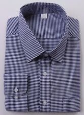 Ex M&S REGULAR FIT 100% COTTON TWILL SHIRT RED OR NAVY GINGHAM CHECK 14.5-18.5
