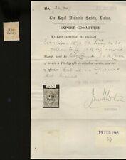 BERMUDA, SG #16, UNUSED Stamp, thin w/ 1944 Royal Philatelic Society Certificate