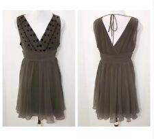 Ark & Co Medium Taupe Beaded Chiffon Mini Dress Flounce Black $99
