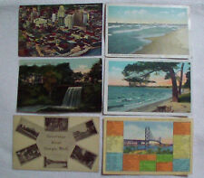 Lot of 6 Vintage Michigan Postcards 1912 1914 1940s Detroit Cadillac Sturgis