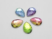 100 Rainbow AB Acrylic Flatback Faceted Teardrop Rhinestone Gems 10X14mm No Hole
