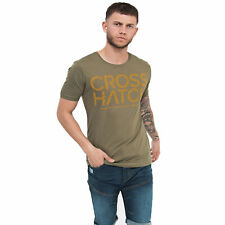 Mens T-Shirt Printed Designer Casual Muscle Gym Top Crosshatch S M L XL 2XL