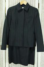 AKRIS 2-Piece Skirt Suit Pencil Skirt EU40L, Blazer EU36 Blue on Black Pinstripe