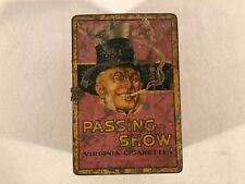 Vintage Passing Show English Cork Tipped Virginia Cigarette Litho Tin Box ~ Pink