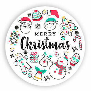 48x Happy Xmas Merry Christmas Labels Stickers Xmas Presents Gift 45mm SNP22
