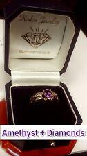 LADIES 14K YELLOW-GOLD PEAR-SHAPED AMETHYST& DIAMONDS RING !