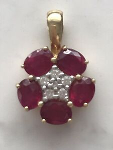 18ct Gold Ruby And Diamond Pendant