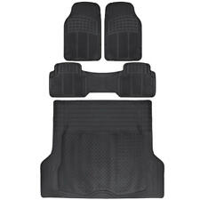 4 pc Rubber All Weather Heavy Duty Front Rear & Trunk Cargo,SUV Floor Mat Black