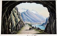 1870 Schweiz Uri Andermatt Trou d'Uri Urnerloch kolorierte Aquatina-Ansicht