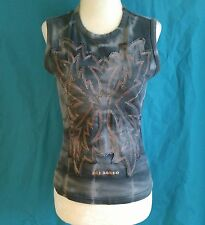 Parasuco Womens Size M Gray Sleeveless Fitted Punk Moto Biker T Shirt Top