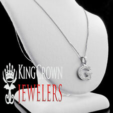 "10K White Gold Genuine Diamond Initial Letter Alphabet ""G"" Mini Pendant + Chain"