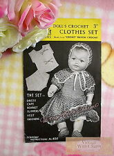 Vintage 1940s Crochet Pattern Baby Dolls 6 Piece Clothes Set Dress Cape Etc.