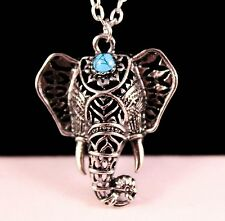 Alloy Edge Elephant Pendant 21 Inch Necklace with Free Jewelry Box and Shipping