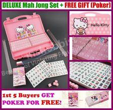 Hello Kitty Pink Mini Size Deluxe Travel Mah jong Game Set + Light Case